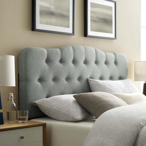Annabel King Upholstered Fabric Headboard in Gray