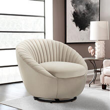 See Details - Bella Beige Velvet Swivel Accent Chair