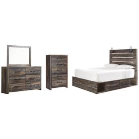Queen Panel Bed With 4 Storage Drawers With Mirrored Dresser and Chest