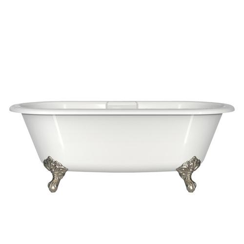 Cheshire 68-5/8 Inch X 31-3/8 Inch Freestanding Soaking Bathtub in Volcanic Limestone™ with Overflow Hole - Gloss White