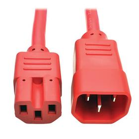 Power Cord C14 to C15 - Heavy-Duty, 15A, 250V, 14 AWG, 6 ft. (1.83 m), Red