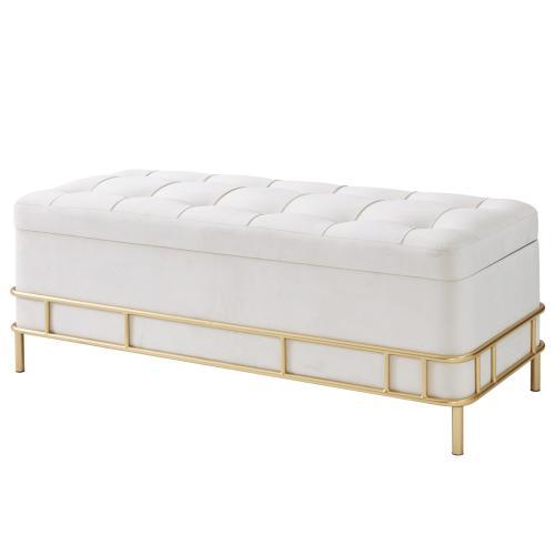 La Jolla Velvet Fabric Tufted Storage Bench, Serene Light Cream/ Gold