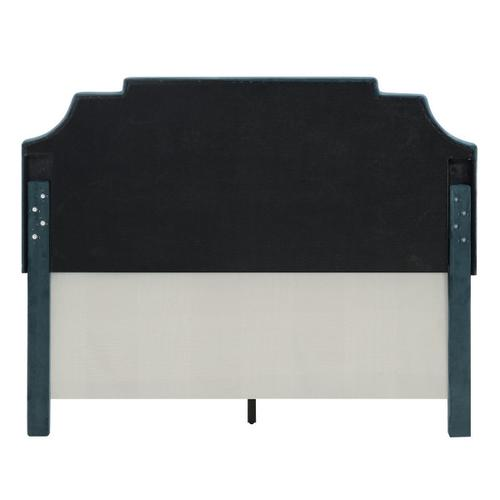 Nailhead Marquee Upholstered King Bed in Jasper Blue