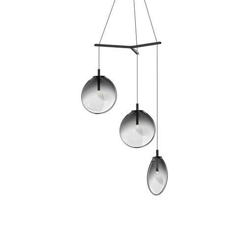 Sonneman - A Way of Light - Cantina LED Pendant [Size=Medium 3-Light Tri-Spreader, Color/Finish=Satin Black w/Smoke Fade Glass]