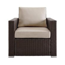 Woven Upholstered Outdoor Accent Chair in Rustic Brown / Beige