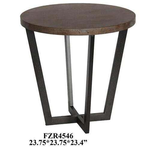 Tremont Slanted Metal and Wood Round End Table