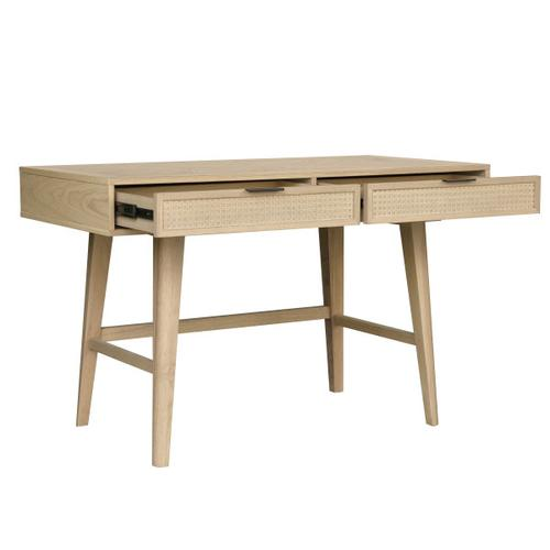 Two Drawer Cane Desk in Brown