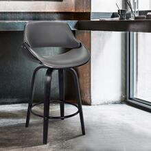 """Mona Contemporary 26"""" Counter Height Swivel Barstool in Black Brush Wood Finish and Grey Faux Leather"""