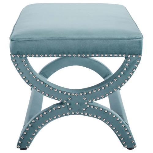 Expound Upholstered Nailhead Trim Performance Velvet Bench in Sea Blue