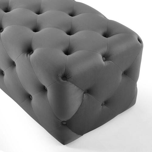 """Amour 72"""" Tufted Button Entryway Performance Velvet Bench in Gray"""