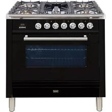 Professional Plus 36 Inch Dual Fuel Natural Gas Freestanding Range in Glossy Black with Chrome Trim