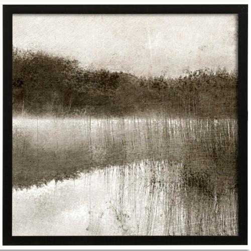 Style Craft - Misty Morning on the Lake II  Made in USA  Artist Print  Faux Wood Frame Under Glass  Attached H