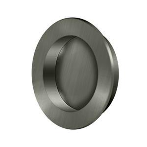 """Flush Pull , Round, HD, 2-3/8"""", Solid Brass - Antique Nickel"""