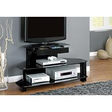 "TV STAND - 48""L / GLOSSY BLACK WOOD / METAL / TEMPERED"