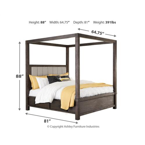 Dellbeck Queen Canopy Bed With 4 Storage Drawers