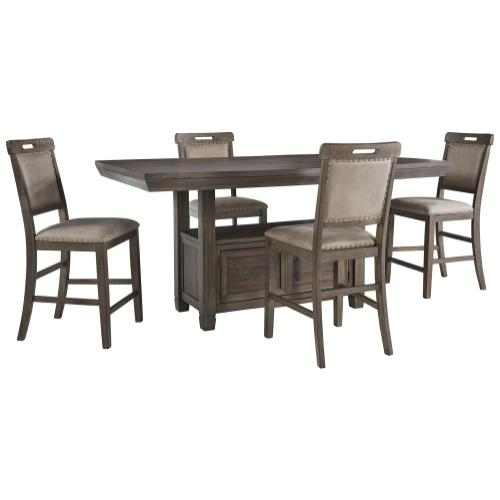 Ashley - Counter Height Dining Table and 4 Barstools
