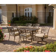 Hanover Traditions 7-Piece Outdoor Dining Set of Four Dining Chairs, Two Swivel Chairs and a 38 x 72 in. Table, TRADITIONS7PCSW