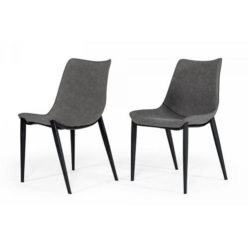 Modrest Frasier - Modern Grey Eco-Leather Dining Chair (Set of 2 )