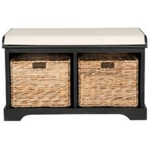 See Details - Freddy Wicker Storage Bench - Distressed Black