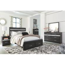 Queen Poster Bed With Mirrored Dresser, Chest and 2 Nightstands