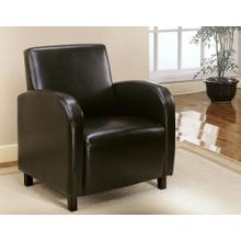 ACCENT CHAIR - DARK BROWN LEATHER-LOOK FABRIC