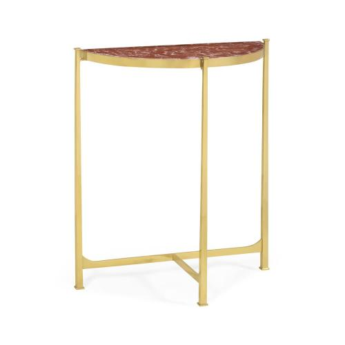 Red Brazil marble & polished solid grass demilune console (Small)