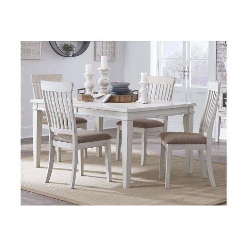 Danbeck Rect Dining Room Ext Table W/6 Chairs Chipped White