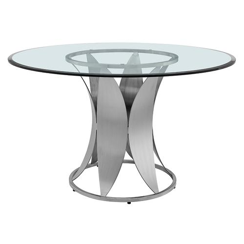 Petal Modern Glass and Stainless Steel Round Pedestal Dining Table