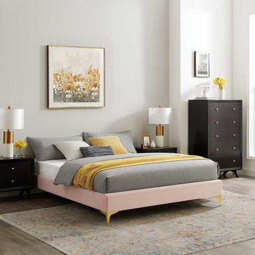 Sutton Full Performance Velvet Bed Frame in Pink