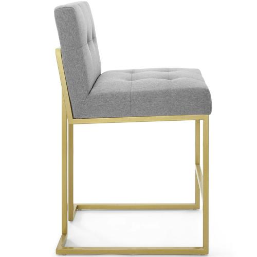 Privy Gold Stainless Steel Upholstered Fabric Counter Stool in Gold Light Gray