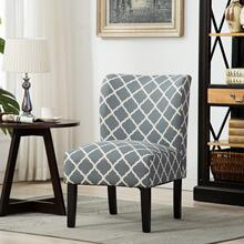 Capa Print Fabric Armless Contemporary Dining Chair, Grid