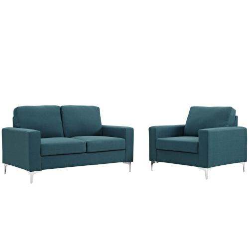 Allure 2 Piece Sofa and Armchair Set in Blue