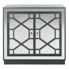 Juniper 2 Door Chest - Steel Teal / Nickel / Mirror