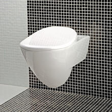 "Wall-hung porcelain toilet for concealed flushing system, includes a seat cover.W: 14 3/4""_x000D_ D: 21 5/8"" H: 13 3/4""."