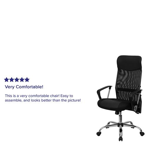 Gallery - High Back Black Leather and Mesh Swivel Task Office Chair with Arms