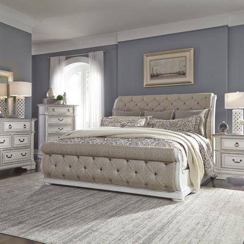 Queen Uph Sleigh Bed, Dresser & Mirror, Chest, Night Stand