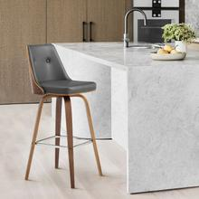 """View Product - Nolte 30"""" Swivel Bar Stool in Grey Faux Leather and Walnut Wood"""