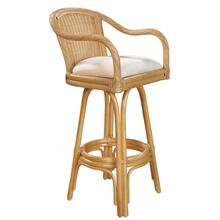 "Key Largo Indoor Swivel Rattan & Wicker 24"" Counter Stool in Natural Finish with Cushion"