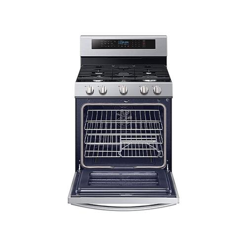 Samsung - 5.8 cu. ft. Freestanding Gas Range with True Convection and Steam Reheat in Stainless Steel