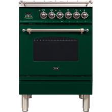 See Details - Nostalgie 24 Inch Dual Fuel Liquid Propane Freestanding Range in Emerald Green with Bronze Trim