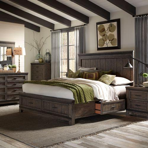 Queen Two Sided Storage Bed, Dresser & Mirror, Chest, Night Stand