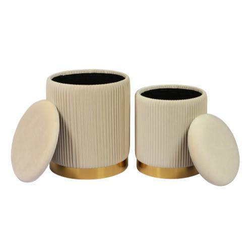 Tov Furniture - Channeled Cream Storage Ottomans - Set of 2