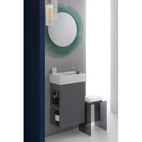 Mustard Yellow Vanity Unit with one glas shelf, door hinge right, open shelf left for handwashbasin tap bank right 815334