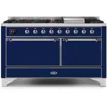 Majestic II 60 Inch Dual Fuel Natural Gas Freestanding Range in Blue with Chrome Trim