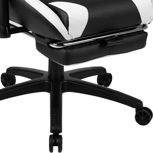 Gallery - Red Gaming Desk and Black Footrest Reclining Gaming Chair Set with Cup Holder and Headphone Hook