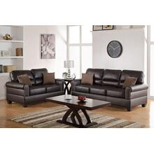 Marwa 2pc Loveseat & Sofa Set, Espresso Bonded Leather