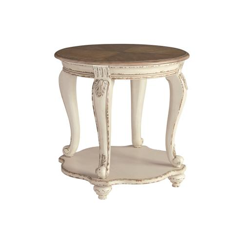 Realyn Round End Table White/Brown