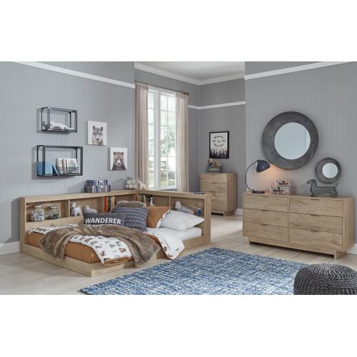 Full Bookcase Storage Bed With Dresser and Chest