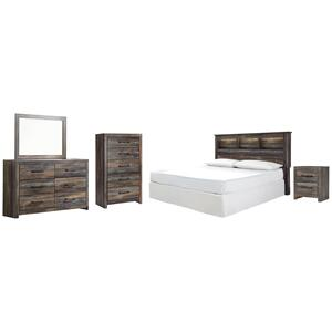 King/california King Bookcase Headboard With Mirrored Dresser, Chest and Nightstand