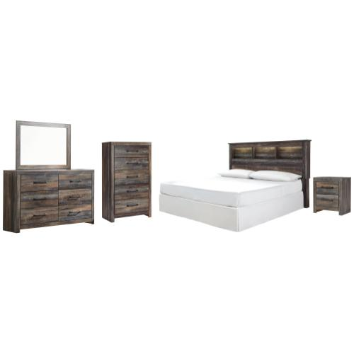 Ashley - King/california King Bookcase Headboard With Mirrored Dresser, Chest and Nightstand